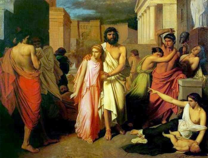 Ο Οιδίποδας και η Αντιγόνη εγκαταλείπουν τη Θήβα. Jalabert, Charles, 1842, λάδι σε μουσαμά. Ο τυφλός Οιδίποδας με οδηγό την Αντιγόνη διασχίζει τη Θήβα, εγκαταλείποντάς την εξόριστος. Πλήθος κόσμου δεξιά κι αριστερά που υποφέρουν από τον λοιμό τον κοιτούν με αποτροπιασμό ή τον δαχτυλοδείχνουν ως την αιτία της συμφοράς. Το μελανό μέλλον προοιωνίζεται από το μελανό ουρανό που διαγράφεται στο φόντο. Ρουέν, Musée des Beaux-Arts de Rouen