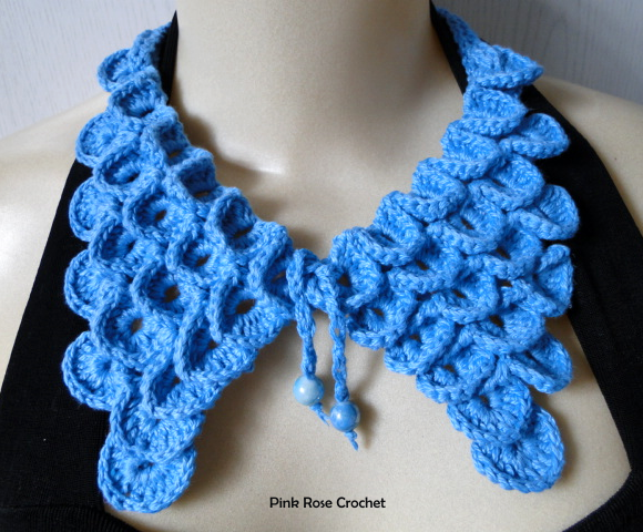 PINK ROSE CROCHET: Colar Azul Crocodile Stitch Collar