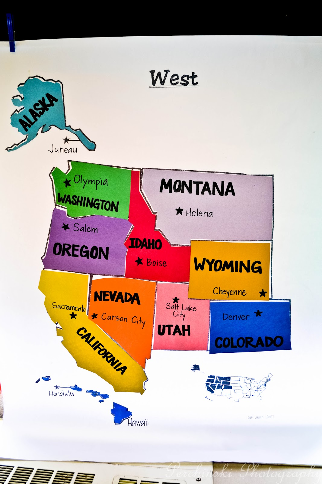 map puzzle for us to match the states with their correct locations we then labeled the capital of each state in each region as a class