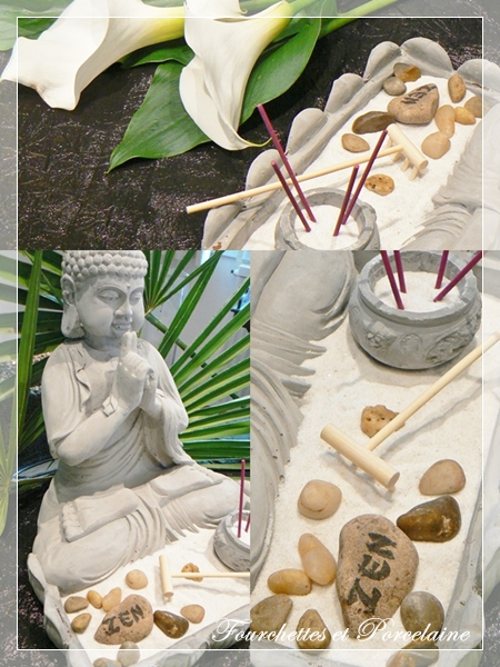 Fourchettes et porcelaine table zen - Centre de table jardin zen tours ...
