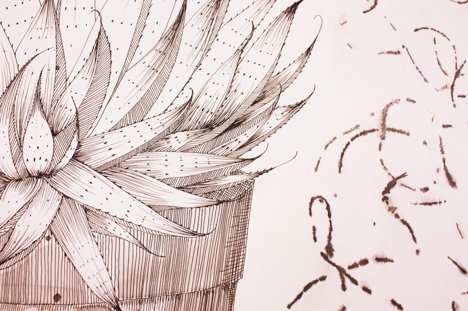 Fine Line Art : Choomi kim textile fine line drawing