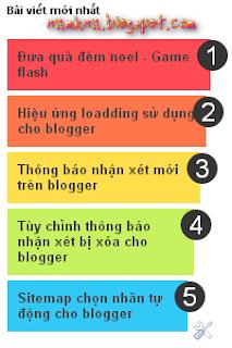 Recent post nhiều màu sắc cho blogspot