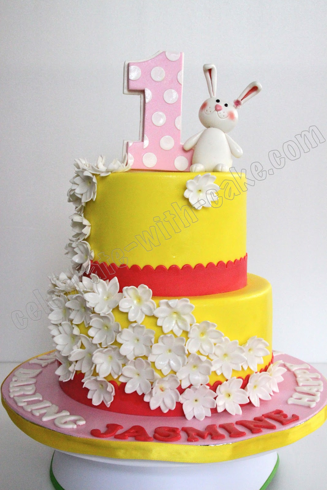 Celebrate with cake jasmine flowers and bunny cake her little girls first birthday party her little girls name was jasmine and so mommy v wanted us to make jasmine flowers the main theme for the cake izmirmasajfo