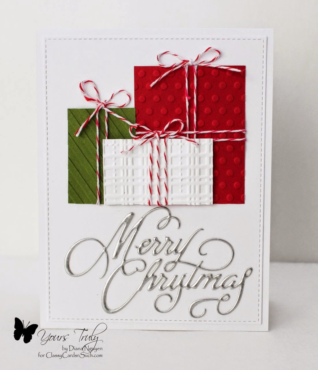 Diana Nguyen, Impression Obsession, Christmas, CAS, embossing folders