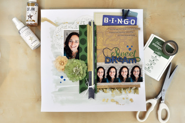 Product Playground: #scrapbooking class featuring how to use stencils and sprays on a scrapbooking layout. http://www.bigpictureclasses.com/classes/product-playground-02