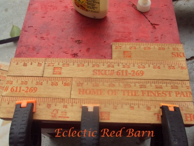 Eclectic Red Barn: Applying yardsticks to painted stool