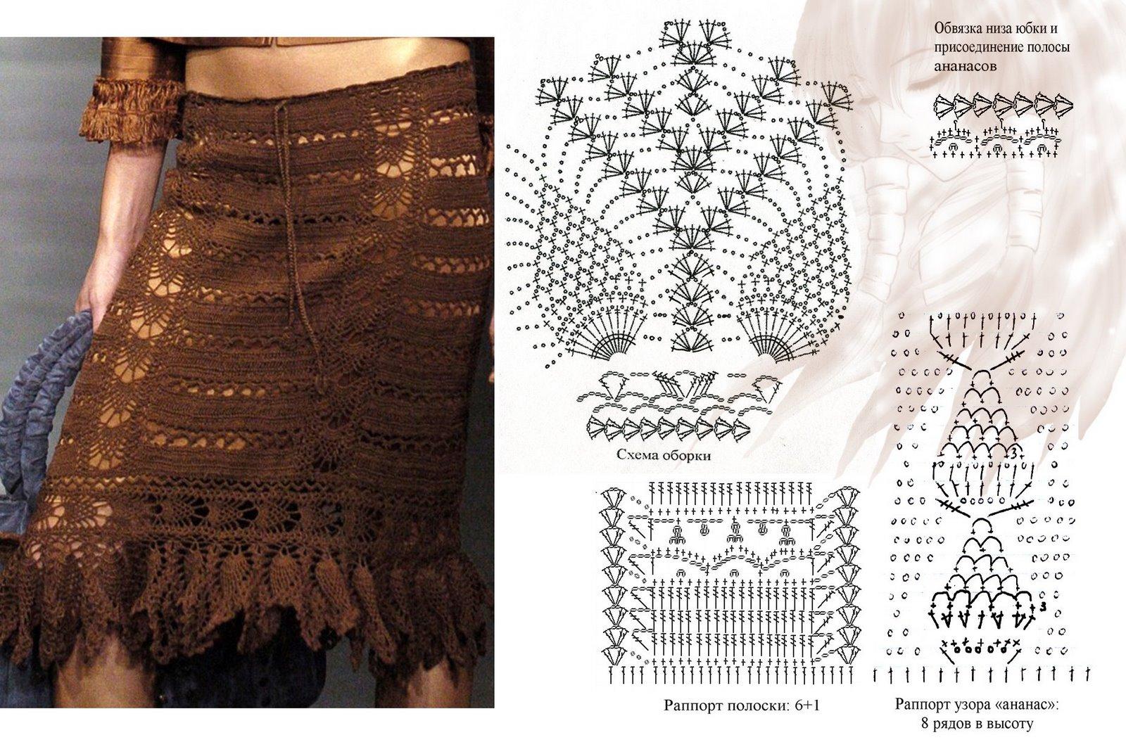 TRICO y CROCHET-madona-mía: Falda/saia a crochet con padrón