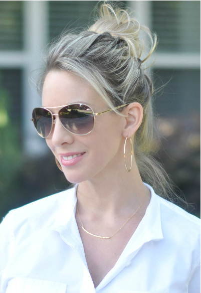 Gorjana Tanner Bar Small Pendant Necklace + Bebe Aviator Sunglasses