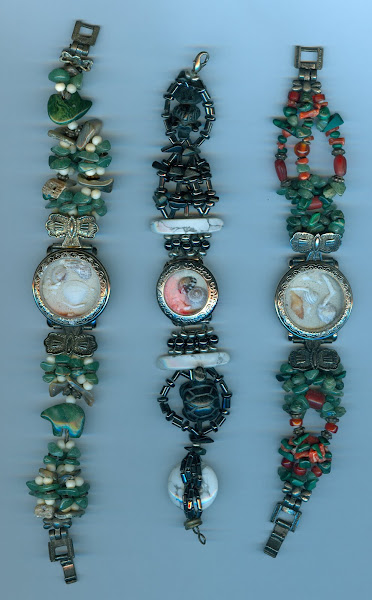 Cuffs #5 recycled watch faces filled with sea glass and shells