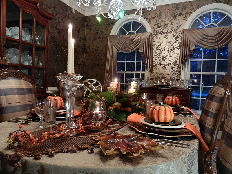 Lots of candlelight provided a warm glow for this autumn table.