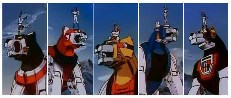 Five Robot Lions of Lion Force Voltron Defender of the Universe 80's Retro Kids Show