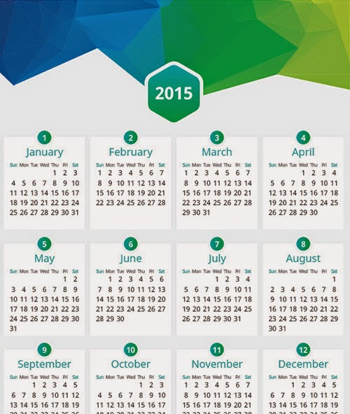 Calendar 2015 Vector Freebie