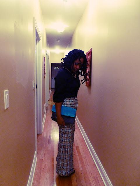 Plaid pants color blocked clutch