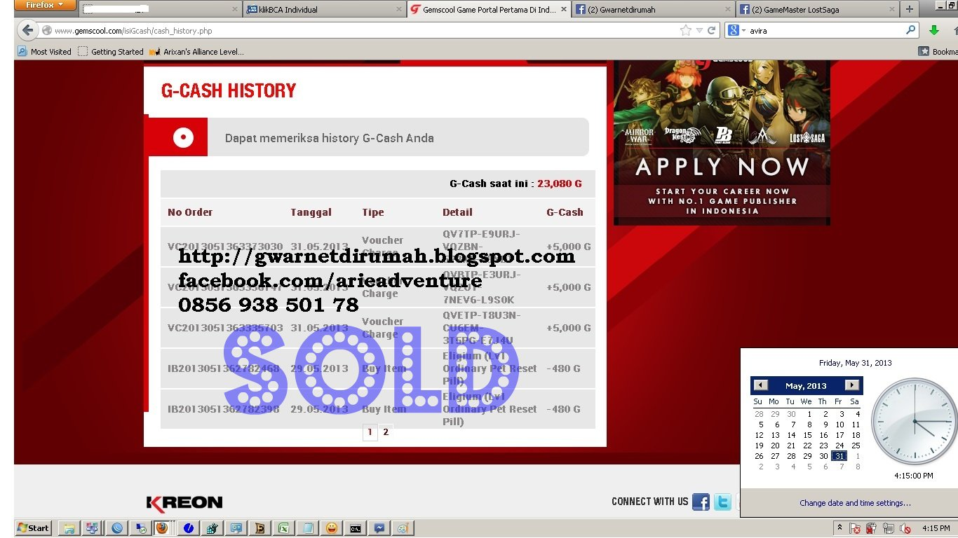 CASH SHOP voucher gemscool murah