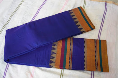 Blue color big border - Handloom designer saree