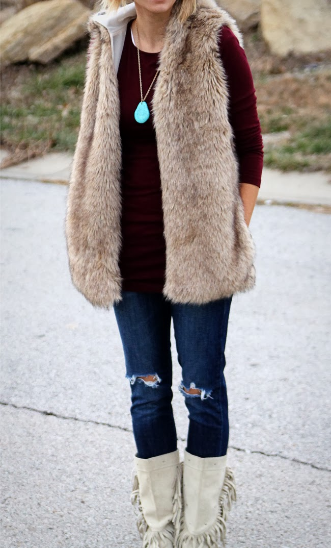 Fur, burgundy, and turquoise