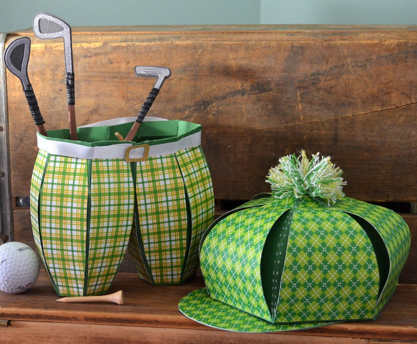 Vintage Golf Pants And Hat Gift Boxes