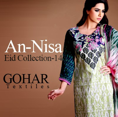 Gohar Textile - An-Nisa Eid Collection 2014 | Elegant Printed Dresses