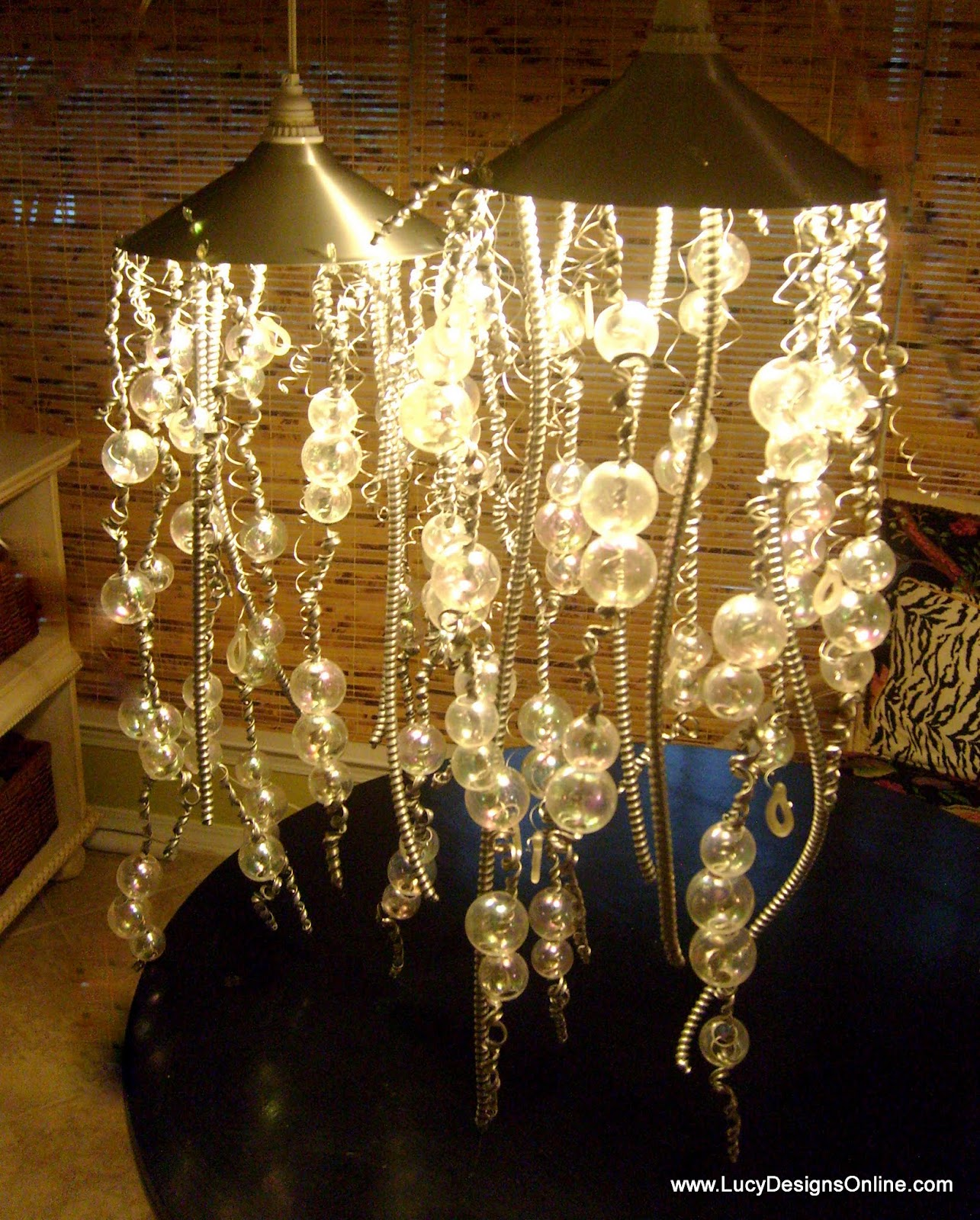 Hand Made Jellyfish Lights Using Recycled Christmas Lights and