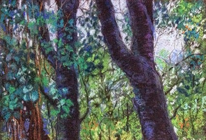 Soft pastel painting of trees in KARLA during monsoon, by Manju Panchal