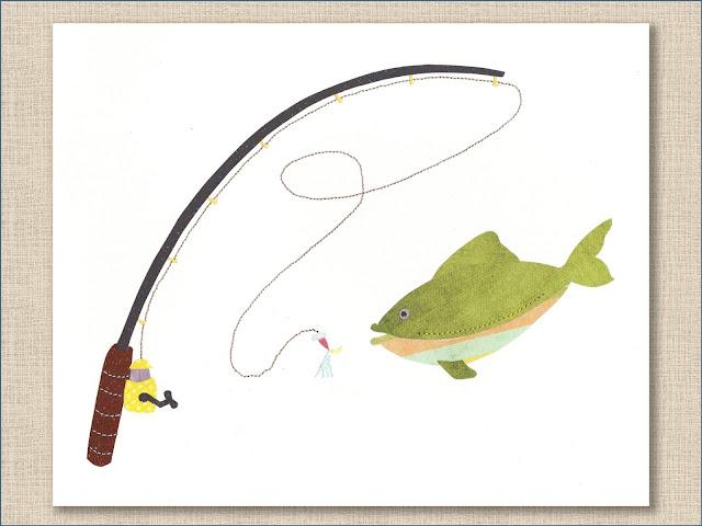 Fishing Collage Art Print -Whitehall Shop