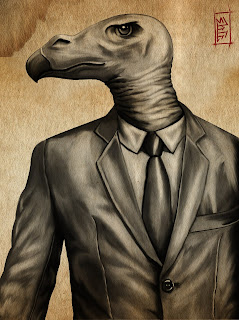 digital painting of a vulture in a suit by TonyMark