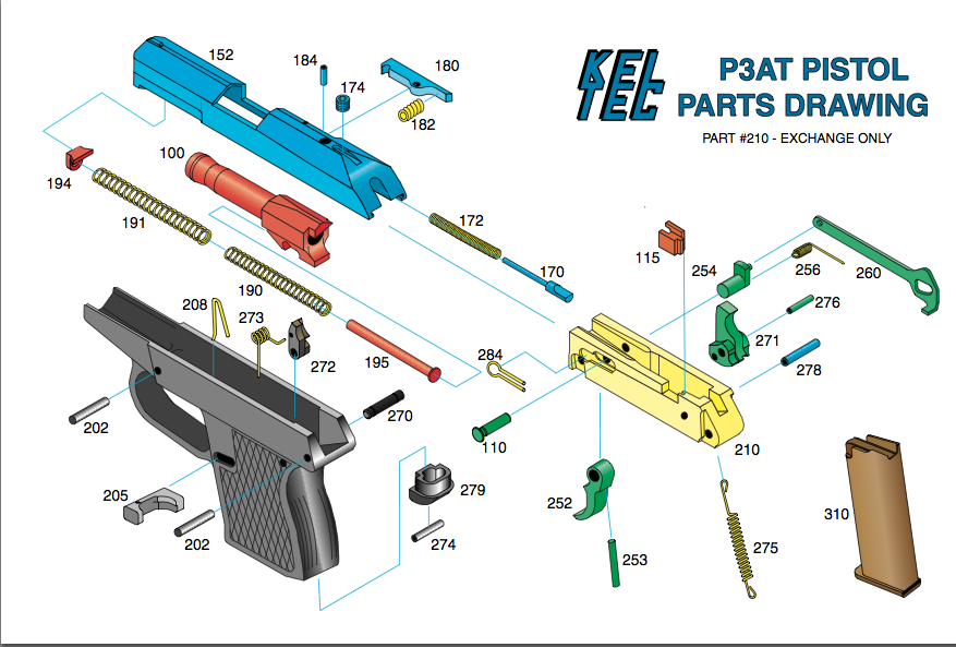 Kel-Tec P-3AT: Exploded schematic for the P-3AT