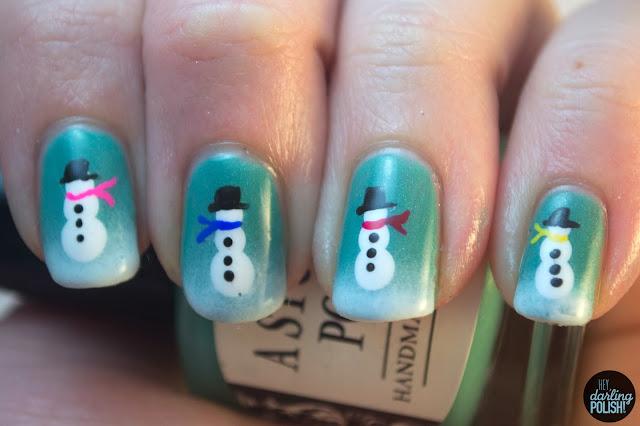 nails, nail art, nail polish, hey darling polish, snowmen, winter, winter nails, snowman, christmas, christmas winter challenge, a study in polish mind palace