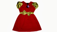 dress anna sui merah pita gold