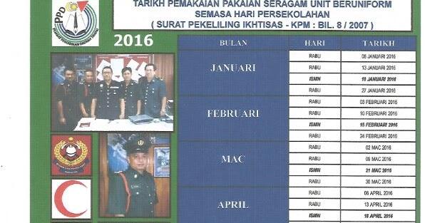 Tarikh Pemakaian Pakaian Seragam Unit Beruniform 2016 Skbqt