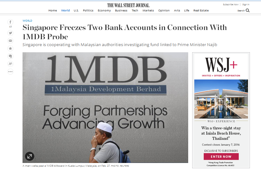 The rumour of Singapore freezing accounts related to 1MDB happened in the  midst of hype over the Cayman Island money parked in Singapore.