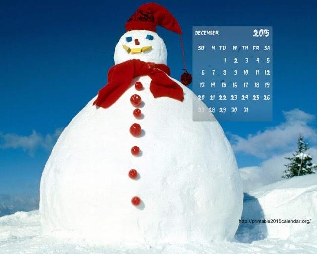 December 2015 Blank Christmas Calendar