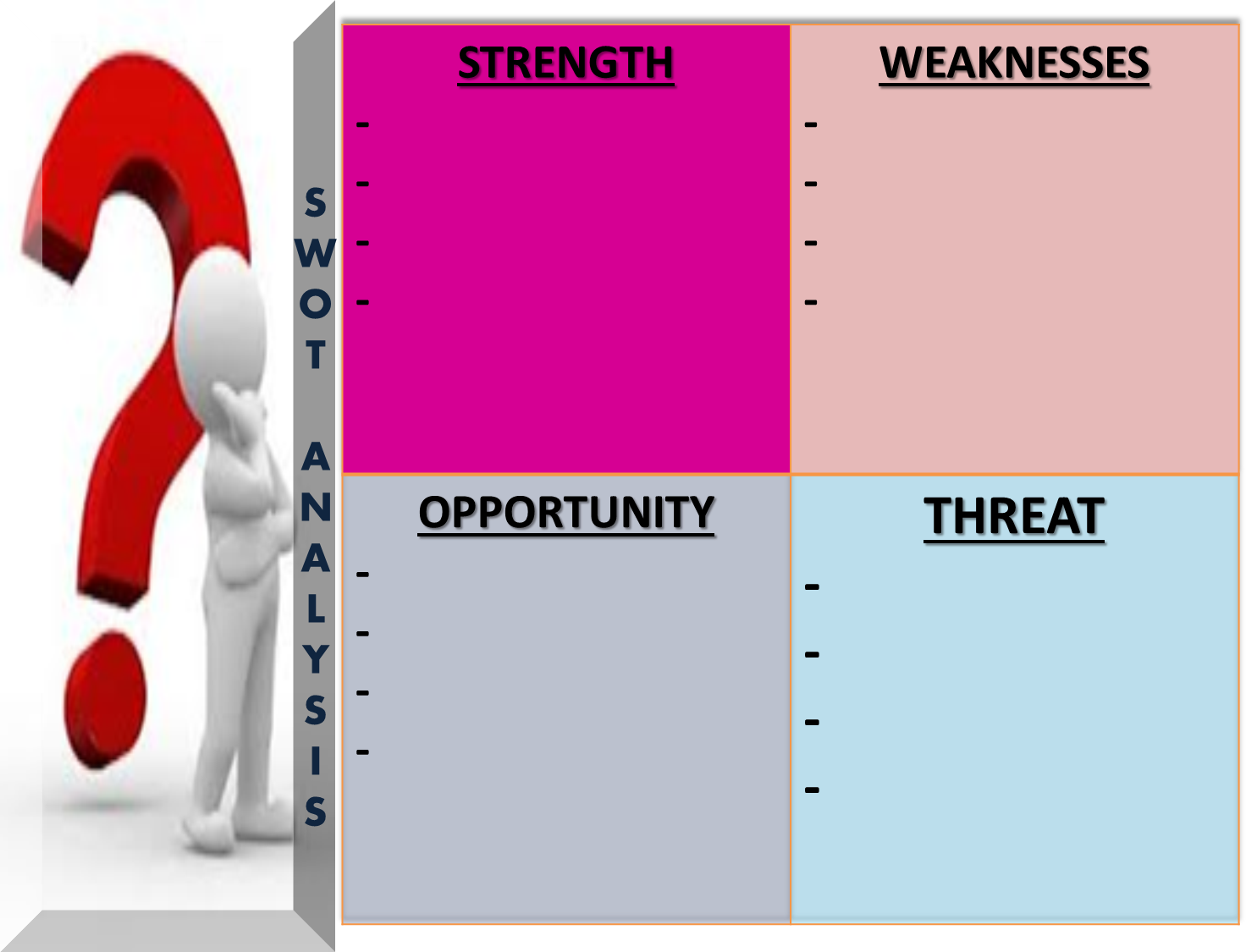 strengths weaknesses opportunities and threats essay Strengths / weaknesses / opportunities / threats) strengths / weaknesses / opportunities / threats) content provided by essay-writersworldcom is legal.