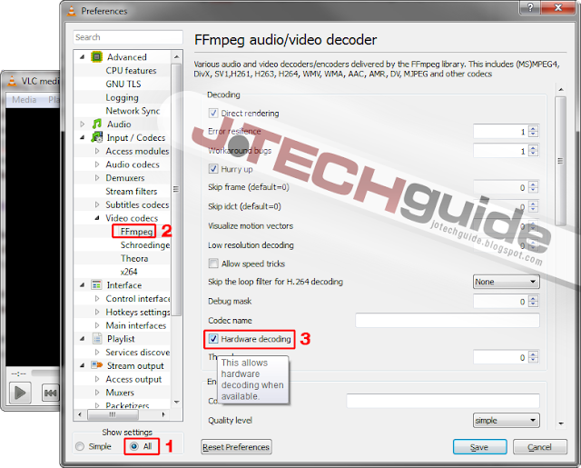 Enable hardware decoding/acceleration in VLC media player