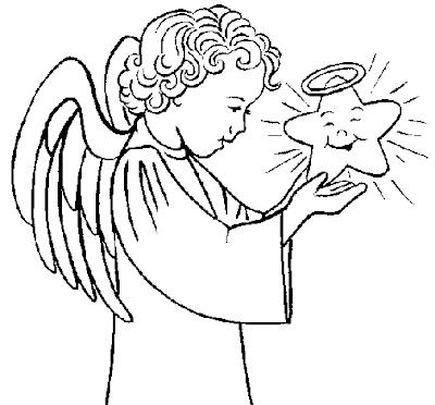 A Desenhar Estrela do mar de natal anjo colorir
