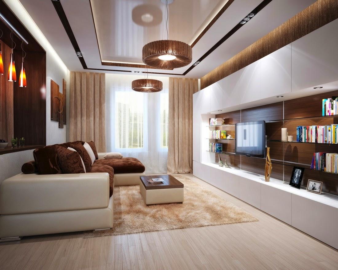 Ruang Tamu Warna Cream dengan sofa putih