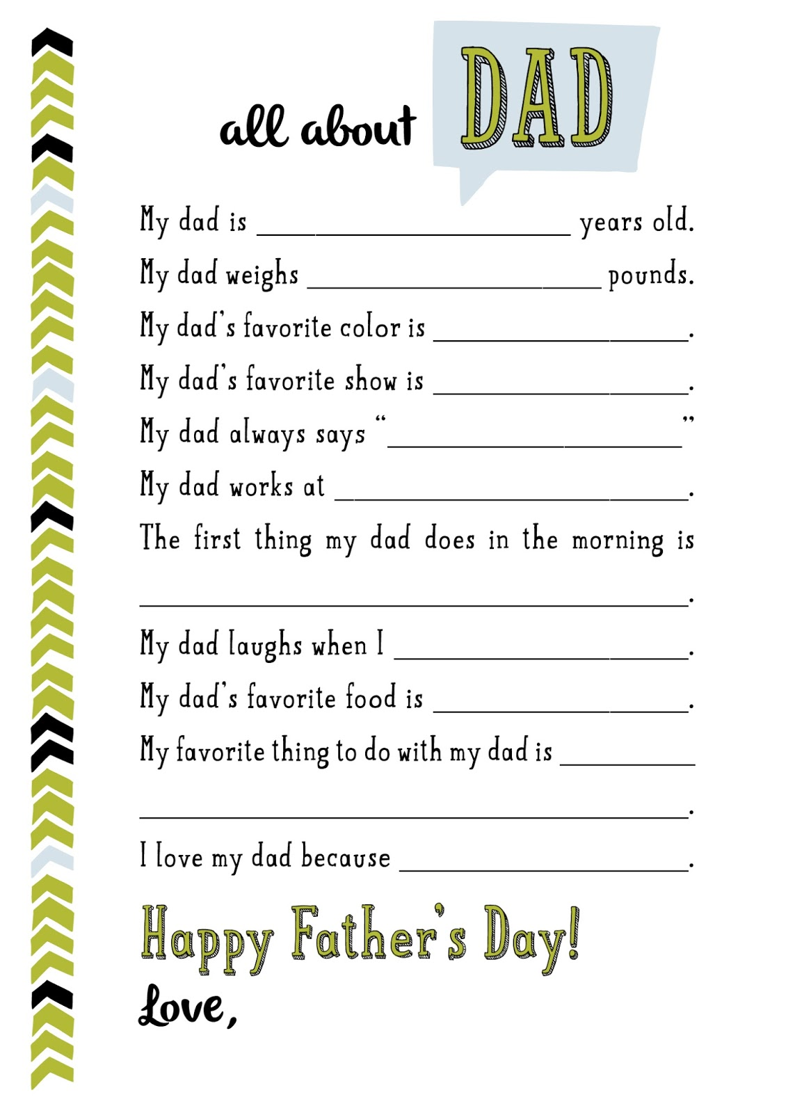 Clean image with regard to all about my dad free printable