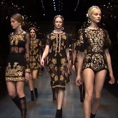 Fekete selyem és csipke arany hímzéssel - Dolce & Gabbana 2012-2013 női divat
