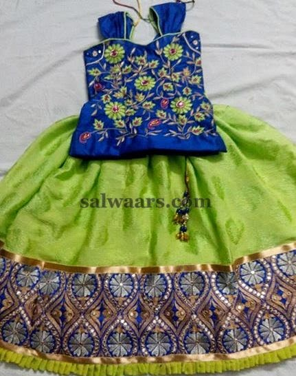 Green and Royal Blue Lehenga