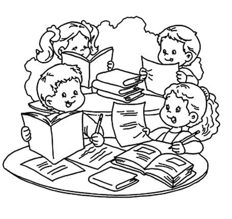 Niños estudiando animados para colorear - Imagui