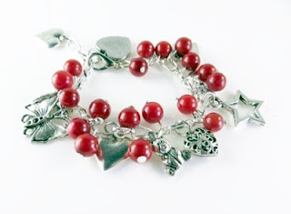 Little Girls Red Beaded Charm Bracelet