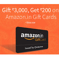 Amazon India: Get Amazon Free Rs. 200 eGift Card on Purchase above Rs. 3000 Amazon Gift Card