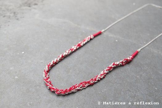 Sumi Kaneko Collier crochet rouge et argent