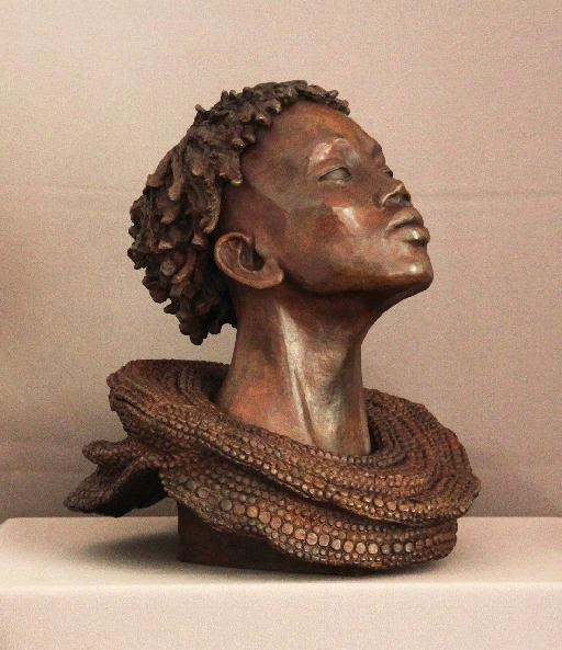 Brijite Bey - Sculptures Faciès Africains en Bronze Patiné
