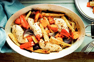 Quick One-pan Chicken Roast Recipe: Classic one-pot Sunday roast of chicken breasts cooked with sweet potatoes, parsnips, bell peppers and onions