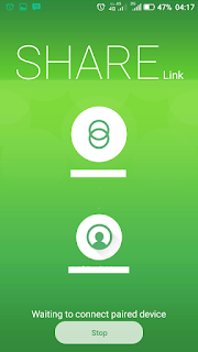 tampilan aplikasi sharelink mengirim file