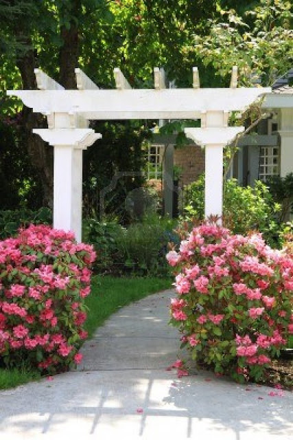 Pretty garden arbor with pink flowers
