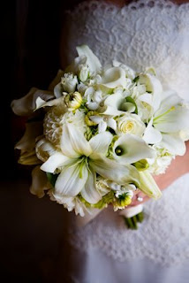 Dahlias in Courtney Gregoire's bridal bouquet
