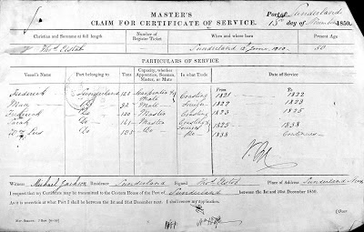 Thomas Elstob's claim for a Master's certifcate of service showing service on the Frederick, May, Sarah and Wm Lees all from Sunderland between 1821 and 1850, the date of the document.