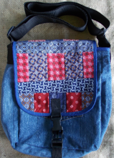 denim and patchwork messenber bag